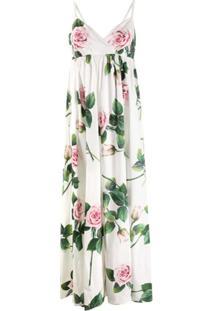 Dolce & Gabbana Tropical Rose Print Maxi Dress - Branco
