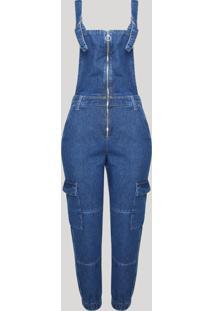 Macacão Jeans Feminino Jogger Com Zíper Jeans Escuro