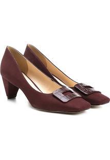76cccb4ecb ... Scarpin Couro Shoestock Salto Baixo Bico Quadrado Fivela Forrada -  Feminino-Vinho