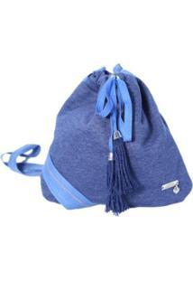 Bolsa Heide Ribeiro Transversal De Tecido Feminina - Feminino-Azul