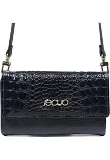 Bolsa Carteira Em Couro Recuo Fashion Bag Croco Azul Marinho/Azul