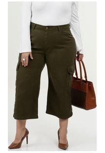 Calça Feminina Sarja Cargo Pantacourt Plus Size Marisa
