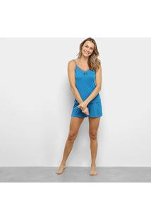 Pijama Lupo Short Doll Liganete Alça Feminino - Feminino-Azul Petróleo