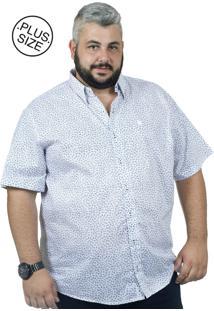 Camisa Plus Size Manga Curta Bigshirts Galho - Branca