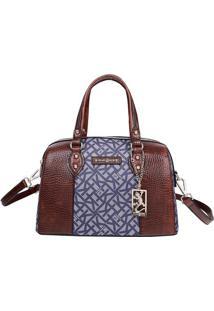 Bolsa Ba㺠Com Textura Croco - Marrom & Azul Marinho Fellipe Krein