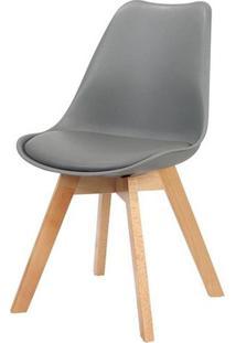 Cadeira Leda Eames Pp Base Madeira Cor Cinza