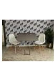 Conjunto De Mesa 1,40 Volpi Inox + 2 Cadeiras Botonê - Branca