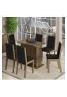 Conjunto Sala De Janta Madesa Aline Mesa Tampo De Vidro Com 6 Cadeiras