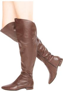 Bota Raphaella Booz Over Knee Flat Marrom