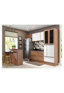 Cozinha Modulada Multimóveis 5463R Calábria 8 Peças Nogueira/Branco