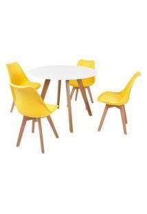 Mesa Inês 100Cm Branca + 4 Cadeiras Leda - Amarela