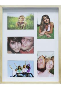 Quadro Para Fotos Wood Natural E Branco 30X40Cm