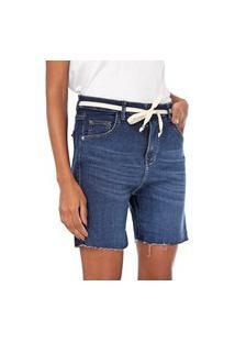 Bermuda Jeans Bloom Jogger Com Cinto Azul