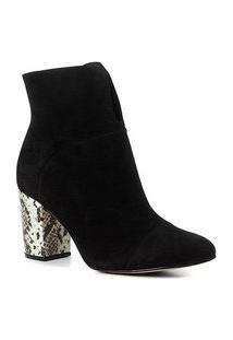 Bota Couro Cano Curto Shoestock Salto Bloco Snake Feminina