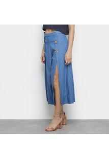 Calça Jeans Pantacourt Lança Perfume Fendas Botões Feminina - Feminino-Azul