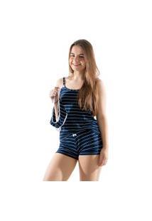 Baby Doll 4 Estações Pijama Listrado Com Calcinha De Brinde Curto Azul Marinho