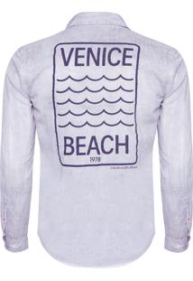 Camisa Masculina Estampa Veince - Cinza