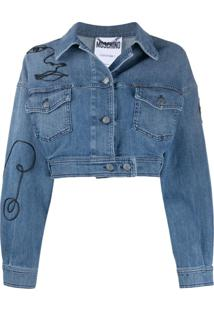 Moschino Embroidered Cropped Denim Jacket - Azul