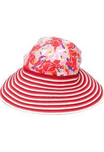 Missoni Mare Chapéu Com Flores E Listras - Vermelho