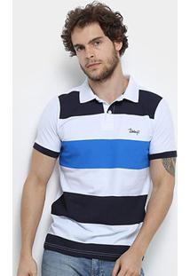 Camisa Polo Jimmy'Z Básica Rapport Masculina - Masculino-Branco+Azul Royal
