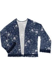 Kimono Rovitex Estampado Feminino - Feminino-Azul