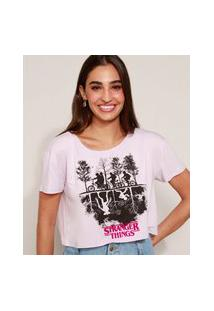 Camiseta Feminina Cropped Stranger Things Manga Curta Lilás