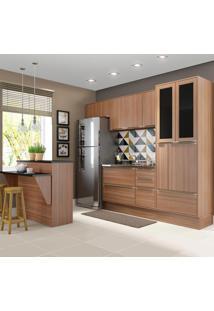 Cozinha Compacta 12 Portas 4 Gavetas 5463R Nogueira/Malt - Multimóveis