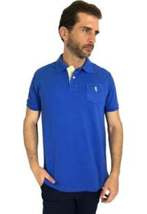 Camisa Polo Mister Fish Slim Basic Com Bolso Masculina - Masculino