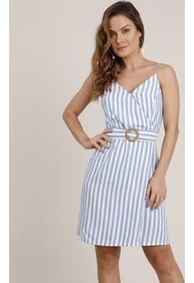 Vestido Feminino Curto Transpassado Listrado Com Cinto Alça Fina Branco