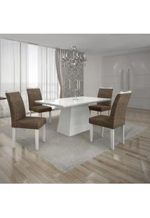 Conjunto Mesa Pampulha 1,20X0,80M Com 4 Cadeiras Vidro Branco Linho Marrom Branco - Leifer
