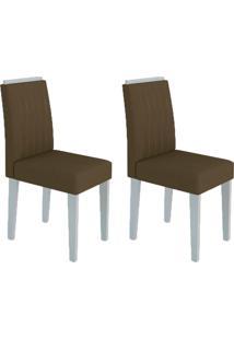 Conjunto Com 2 Cadeiras Ana I Off White E Marrom