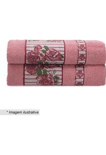 Toalha De Banho Claris- Rosa & Branca- 70X130Cm-Camesa