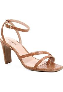 Sandália Shoestock Bico Quadrado Salto Alto Feminina - Feminino-Caramelo