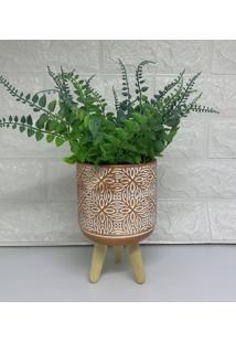 Vaso Cimento Rose Gold Tripé De Madeira, Com Planta