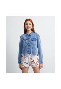 Jaqueta Cropped Jeans Sem Estampa Com Barra Diferenciada | Blue Steel | Azul | P