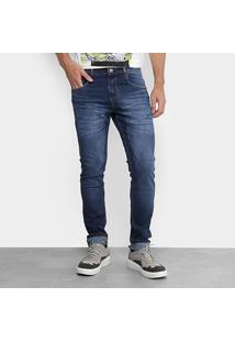 Calça Jeans Slim Zamany Elastano Used Masculina - Masculino-Azul Escuro