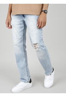 Calça Jeans Masculina Reta Com Rasgos Azul Claro