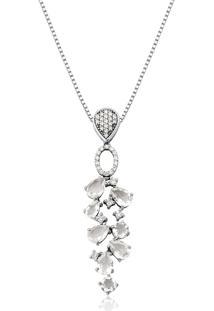 Pingente De Ouro Branco 18K Gotas De Cristal Branco Com Diamantes-Coleção Goute