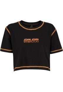 Blusa Cropped John John Biles - Feminina - Preto
