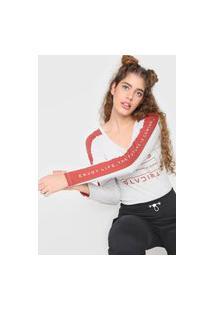 Camiseta Tricats Recortes Future Is Coming Cinza/Vinho