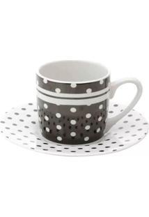 Jogo De Xícaras De Café Com Pires Black Dots 90Ml Lyor Porcelana Com 6 Peças