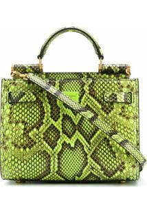 Dolce & Gabbana Bolsa De Mão Em Couro Com Estampa De Cobra - Verde