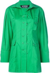 Jacquemus Blusa Com Bolso E Detalhe De Botão - Verde