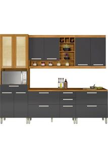 Cozinha Compacta Burguesa 11 Pt 5 Gv Grafite E Freijó