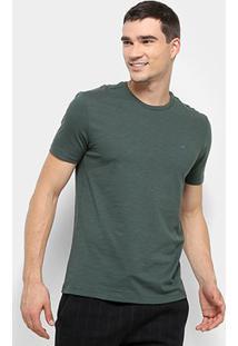Camiseta Calvin Klein Slim Careca Flame Masculina - Masculino-Verde Escuro