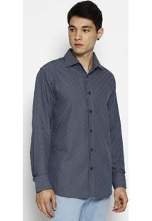 Camisa Xadrez Slim Fit Com Pied-De-Poule- Azul Escuro & Forum