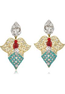 Brinco Le Diamond Metal Com Pedras Turquesa