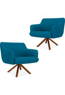 Kit 02 Poltronas Decorativas Para Sala De Estar Jade Veludo Liso B-170 - Lyam Decor - Azul - Dafiti