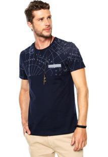 Camiseta Enfim Estampado Azul