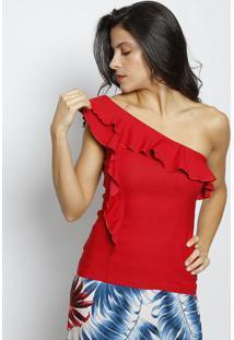 Blusa Ombro Único Com Babados - Vermelhamoiselle